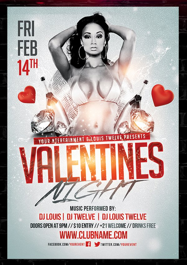 FREE Valentines Party Flyer Template