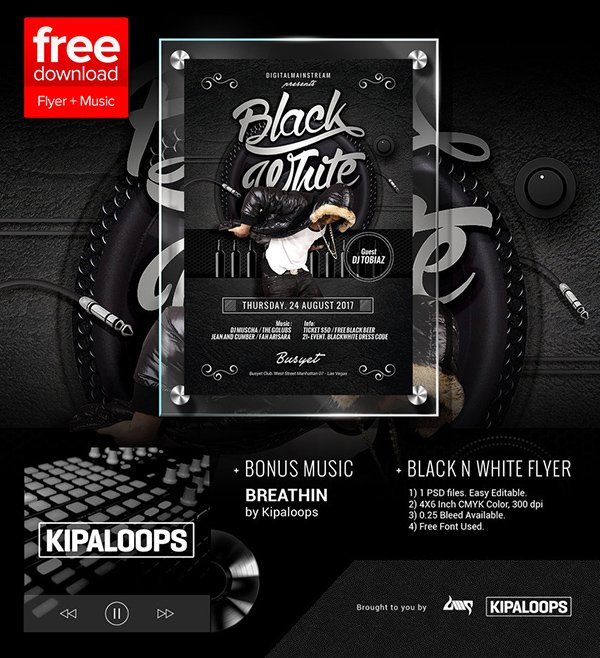 Free Black And White Club Flyer Template