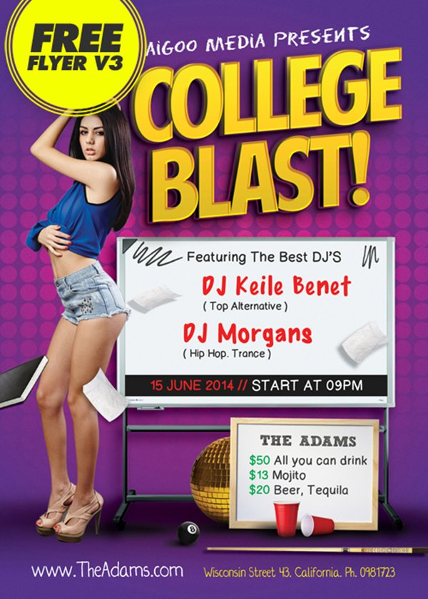 Free download flyer V3 College Blast Club Party Flyer Template