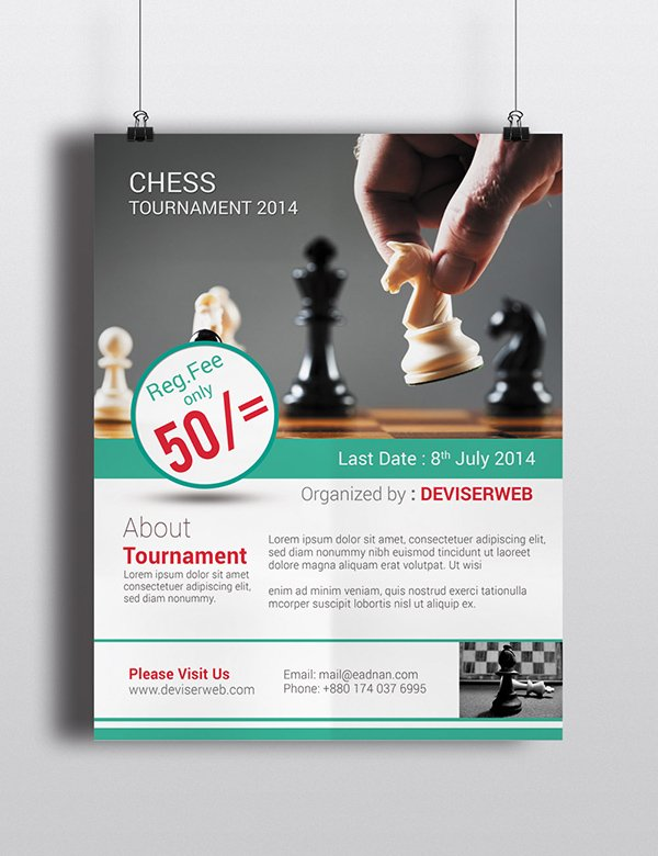 Free Chess Tournament Flyer Template PSD