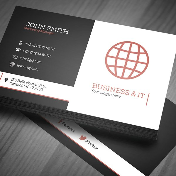 30 amazing free business card psd templates free corporate business card template psd fbccfo Image collections