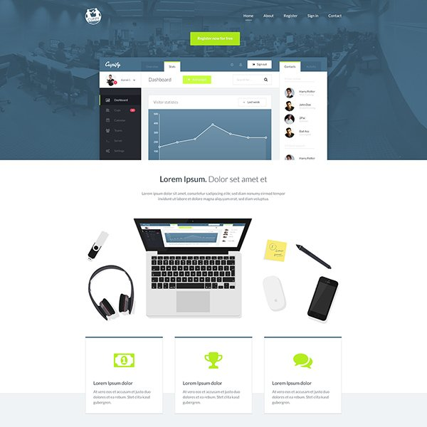 Free Cupify Homepage PSD