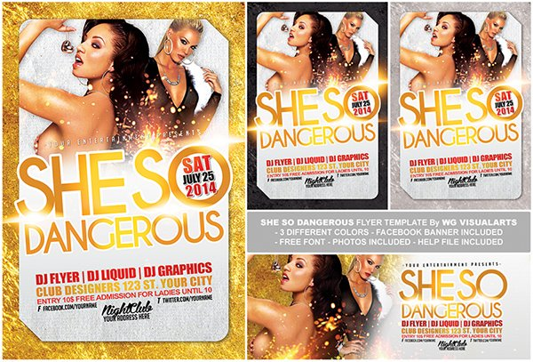 Free Flyer PSD Template She So Dangerous