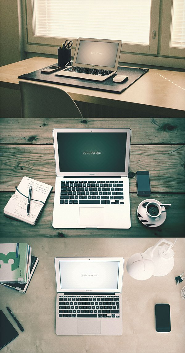 Free Macbook Air hipster Mockups
