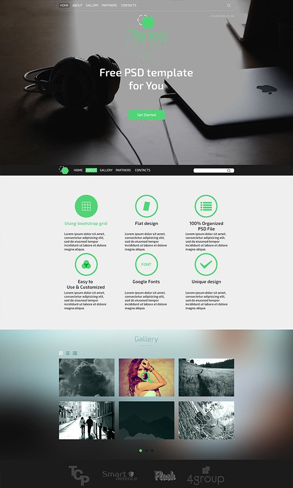 201 amazing free psd website templates planed free psd template pronofoot35fo Choice Image
