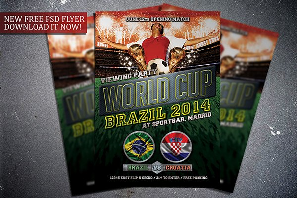 Free Soccer World Cup 2014 Flyer Template