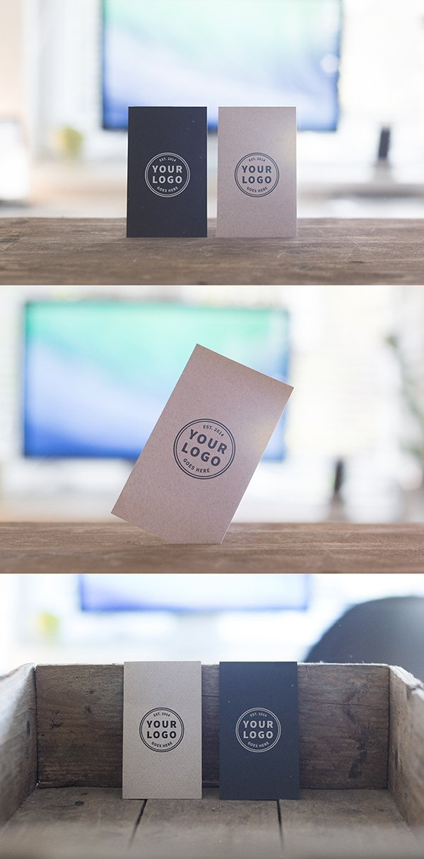 3 Free Standing Business Cards Mockups