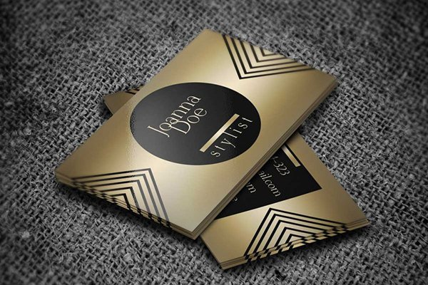 30 amazing free business card psd templates gold fashion stylist business card template fbccfo Choice Image