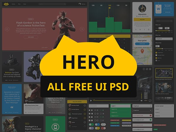 HERO Free UI Kit PSD