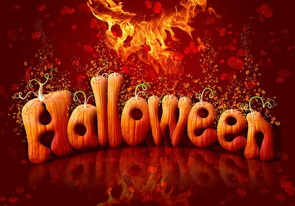 Halloween Text Effect - How To Create Letters From Pumpkin Image