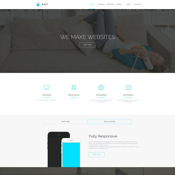 Ket - Single Page PSD Web Template
