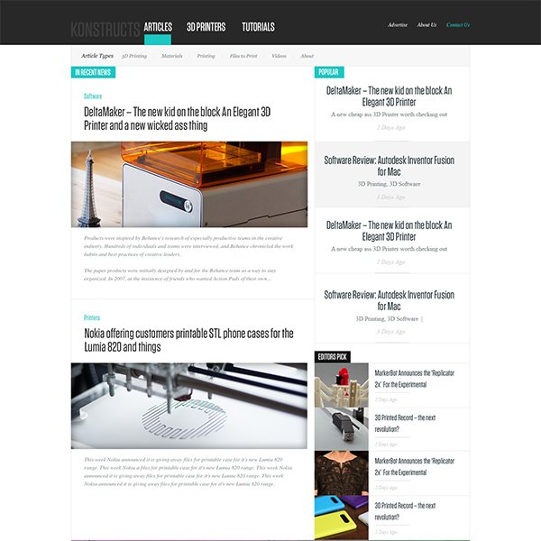 Konstructs Free News or Blog PSD Website