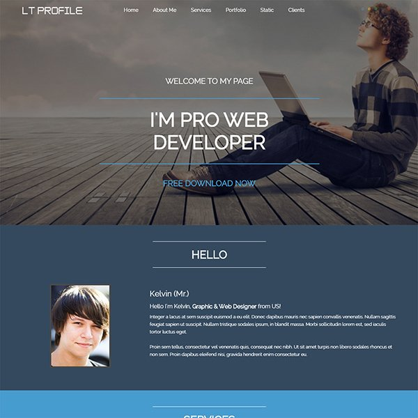 LT Profile Is Free Responsive One Page Profile Joomla Template Tailored For  Resume, Cv, Profile Websites. It Is 100% Responsive, Clean And Stylish, ...