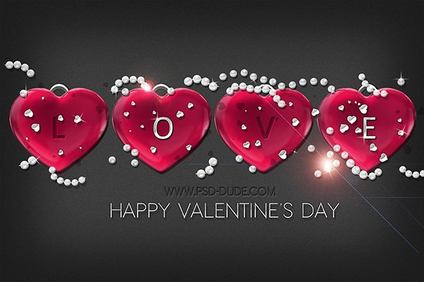 Make A Glossy Red Heart Text In Photoshop