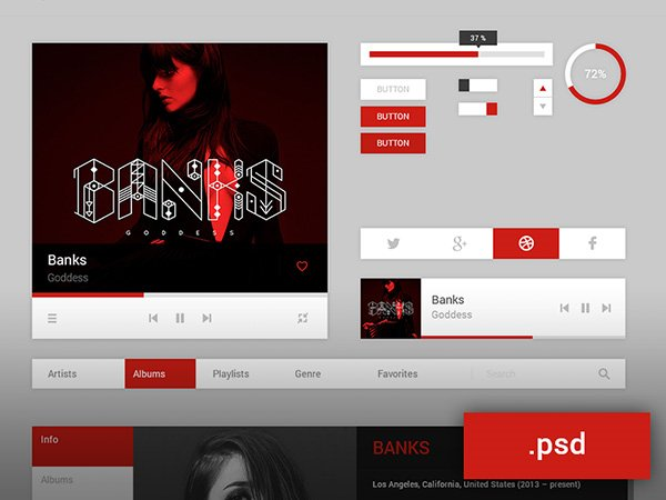 Music UI kit - PSD