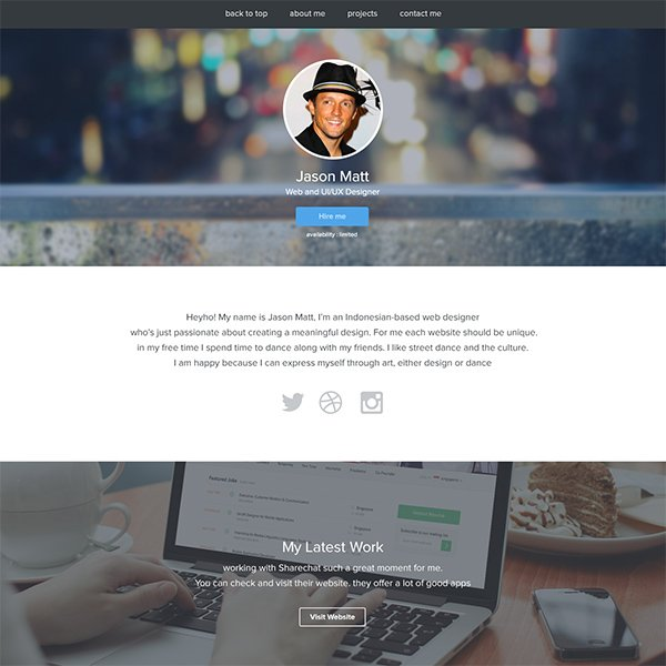PSD Personal/Portfolio Website Template