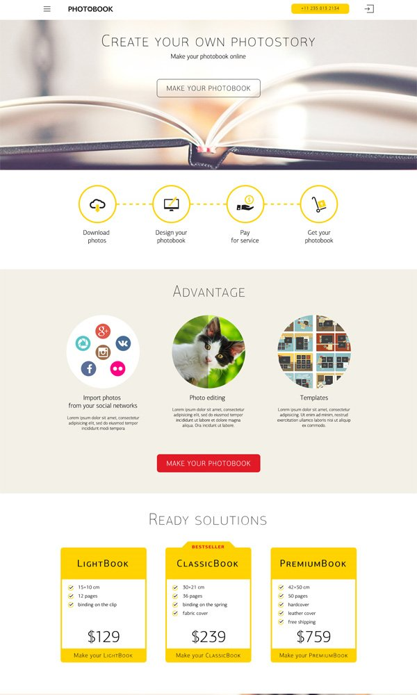 Photobook Theme - FREE Landing Website | PSD