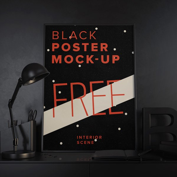 Black Poster Mock-up Template