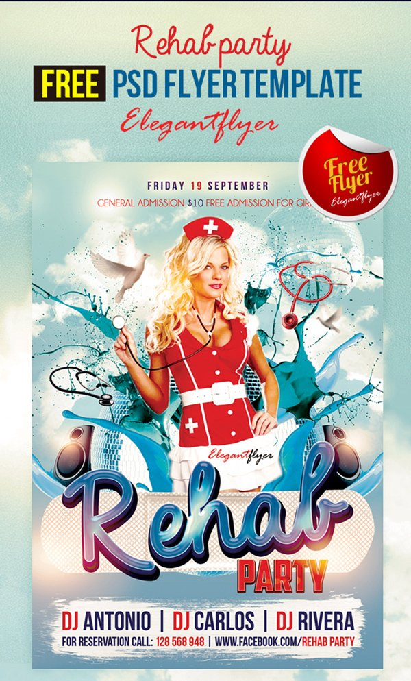 Marvelous Rehab Party U2013 Free Club And Party Free Flyer PSD Template