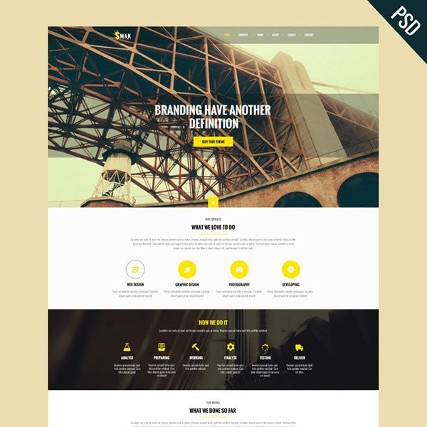 Smak - PSD One Page Web Template