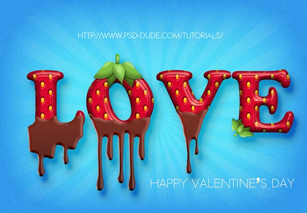 Strawberry And Chocolate Text In Photoshop