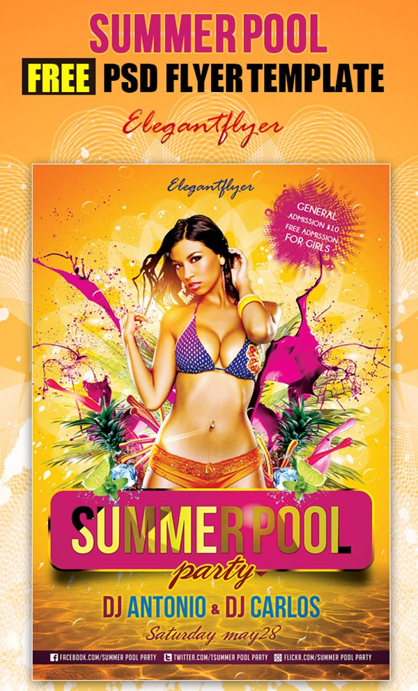 Summer Pool Party – Free Club and Party Free Flyer PSD Template
