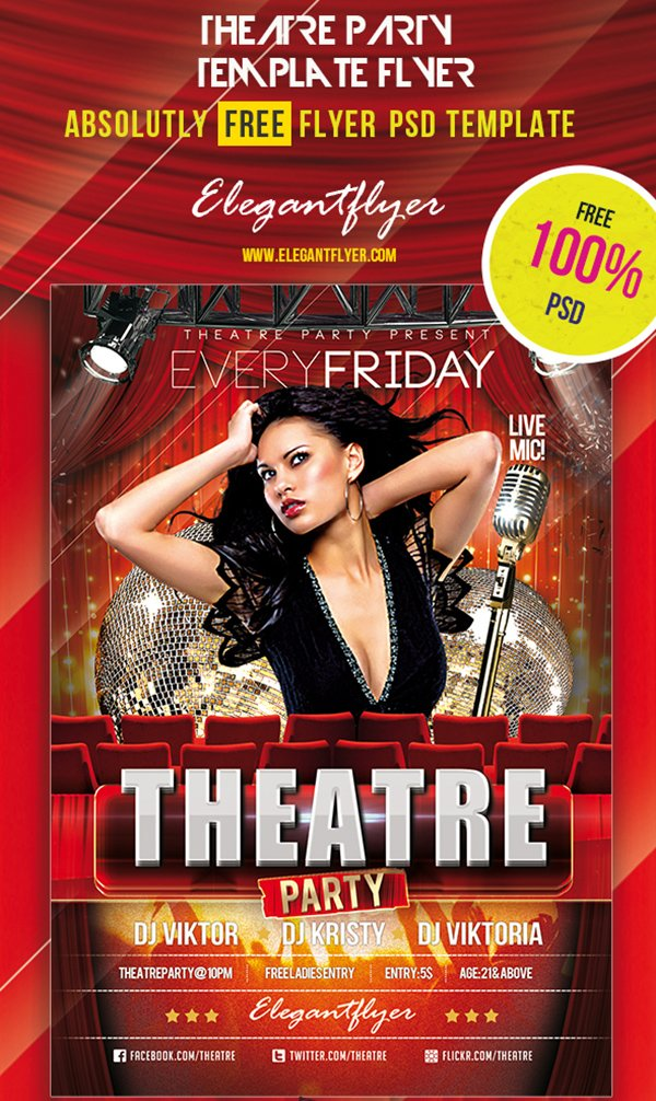 Theatre Party – Club and Party Free Flyer PSD Template