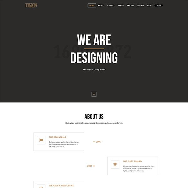 Trendy – Creative One Page PSD Template