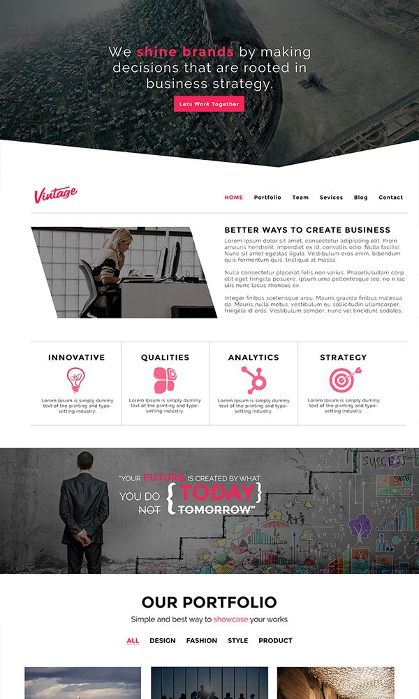 Vintage PSD Website Template