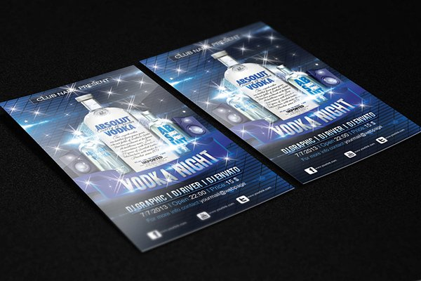 Vodka Night Free Club Flyer PSD
