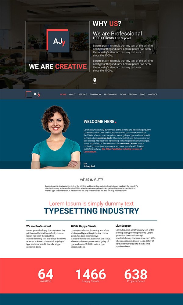 AJy – Free One Page Psd Website Template