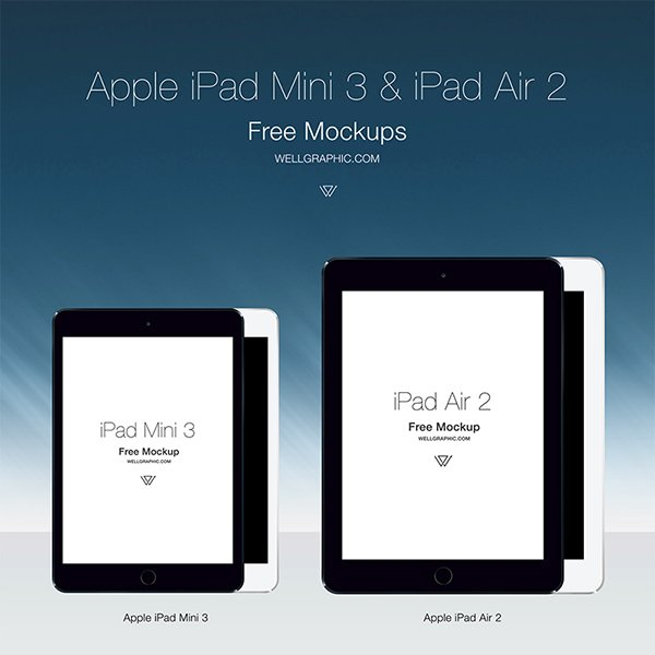 Apple iPad Mini 3 and iPad Air 2 Mockup PSD