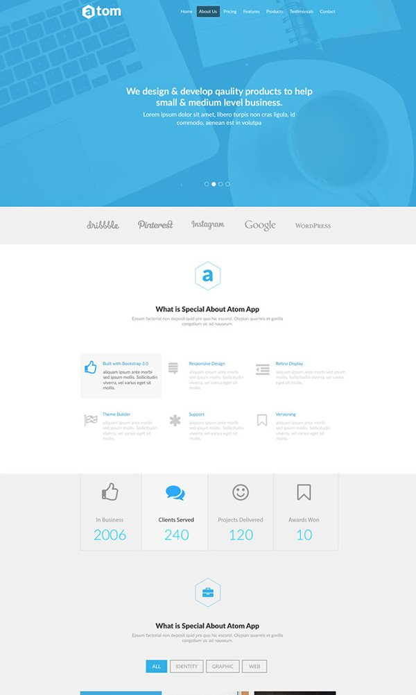 Atom - Free PSD Website Template