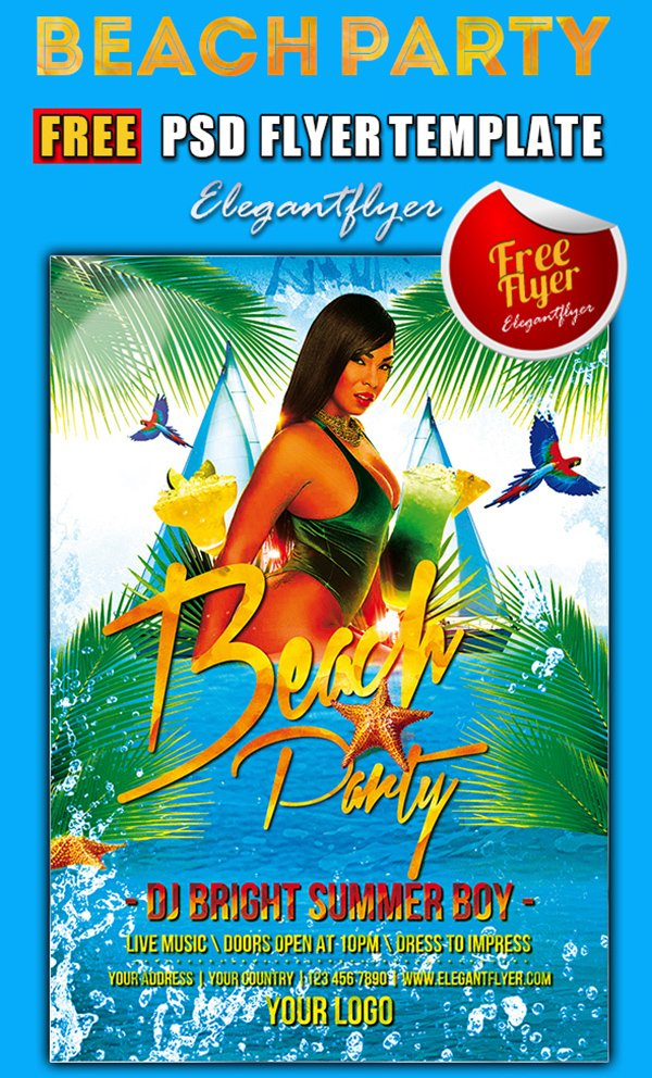 Beach Party – Free PSD Flyer Template + Facebook Cover