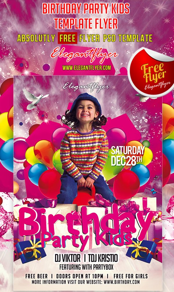 Birthday Party Kids – Club and Party Free Flyer PSD Template