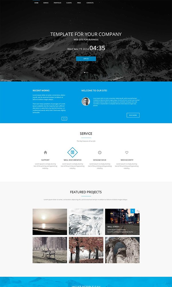 26 best free bootstrap html5 website templates february 2015 edition blue html5 web template wajeb Images