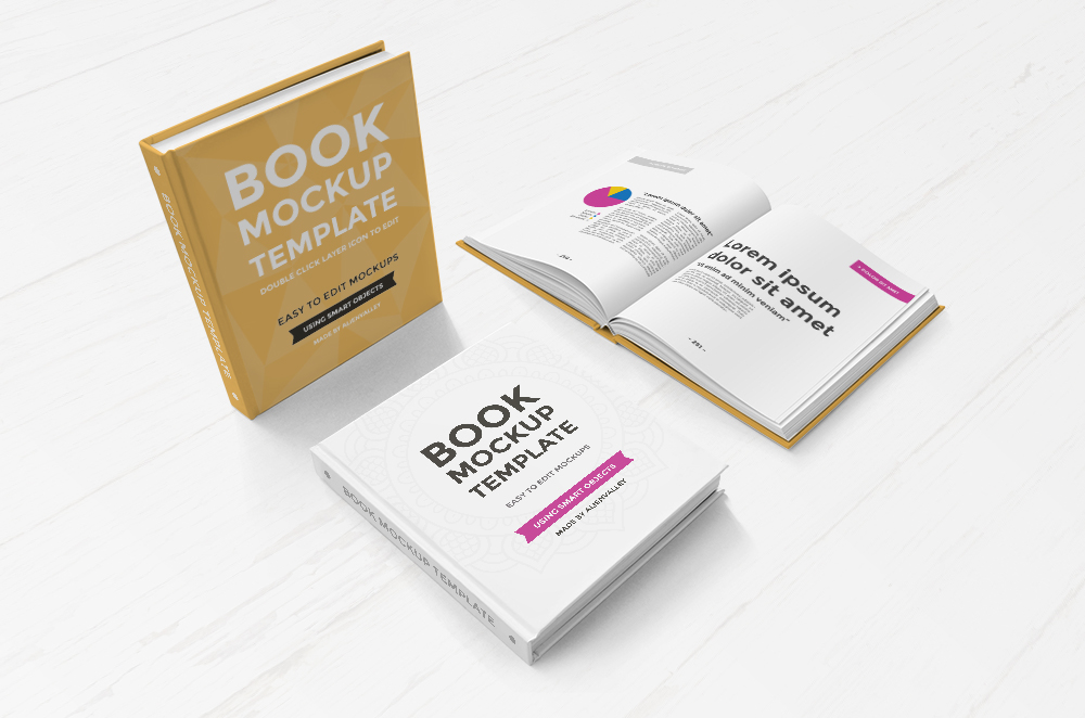 Hardcover Book in 3 Positions - Free Mockup Set