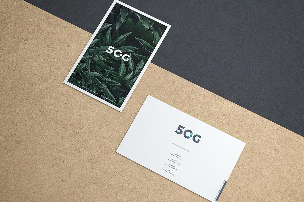 2 Business Cards on Paper – Free Mockup