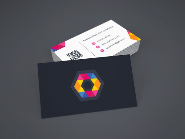 Free Business Card Mock-up Template Vol.9