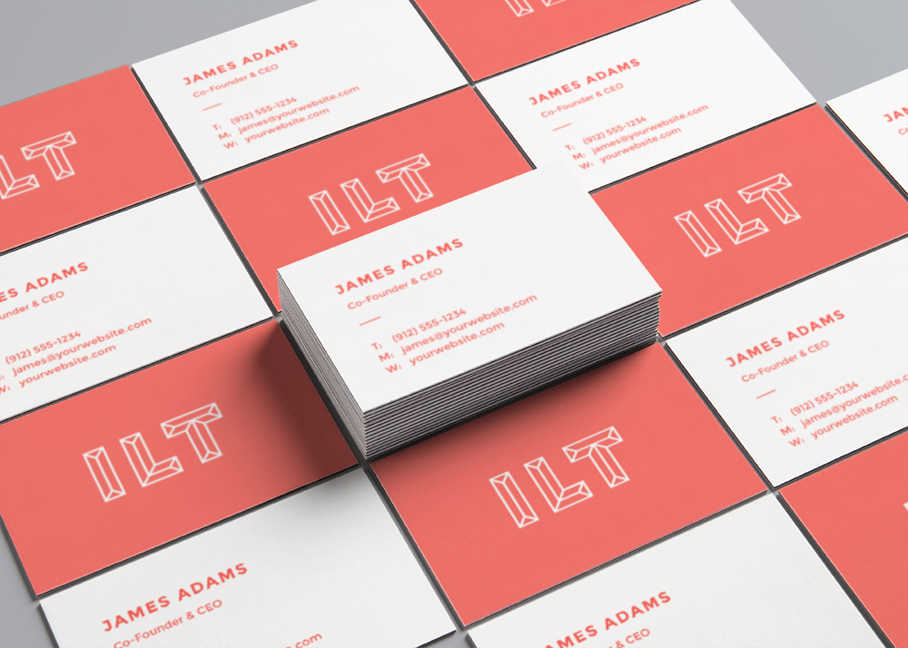 Free Perspective View Business Cards Mockup