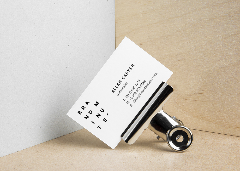 Business Card on Metal Clip - Free Mockup Template