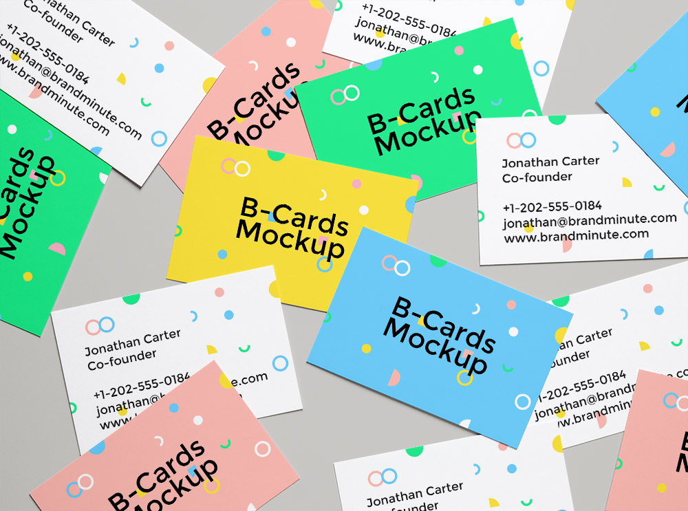 Scattered Business Cards - Free Mockup Template