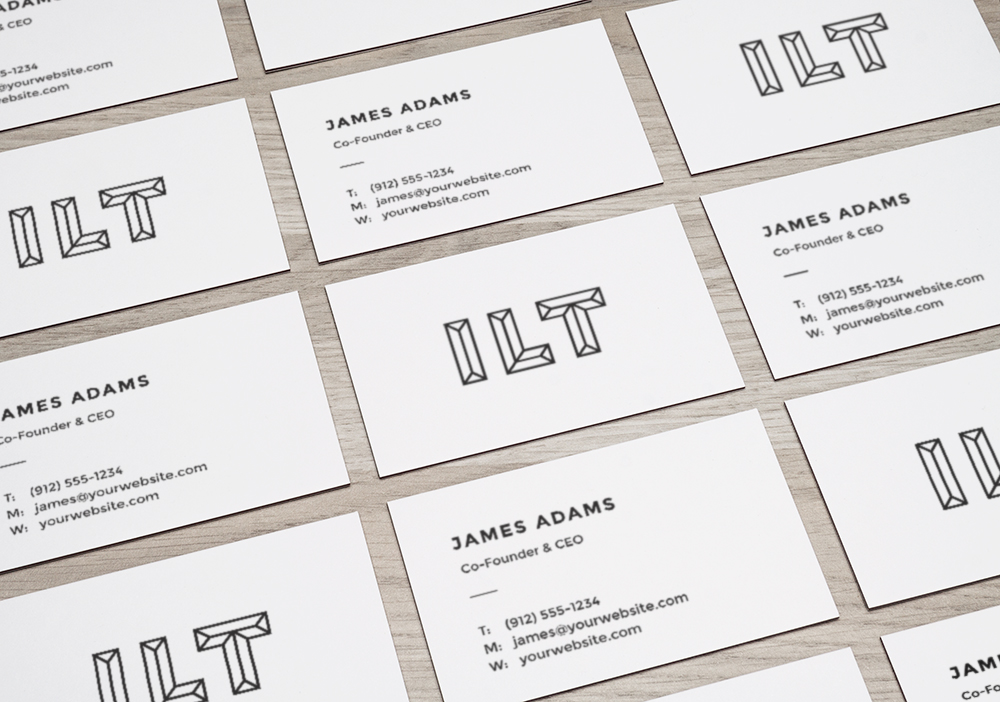Free Grid Style Business Card Mockup