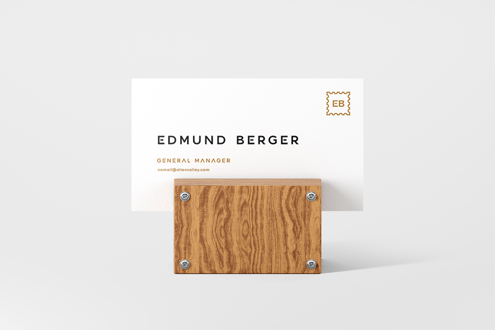 Business Card on Wooden Stand - Free PSD Mockup