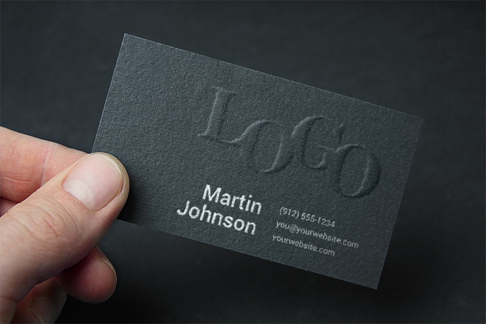 Business Card with Embossed Logo - Free PSD Mockup