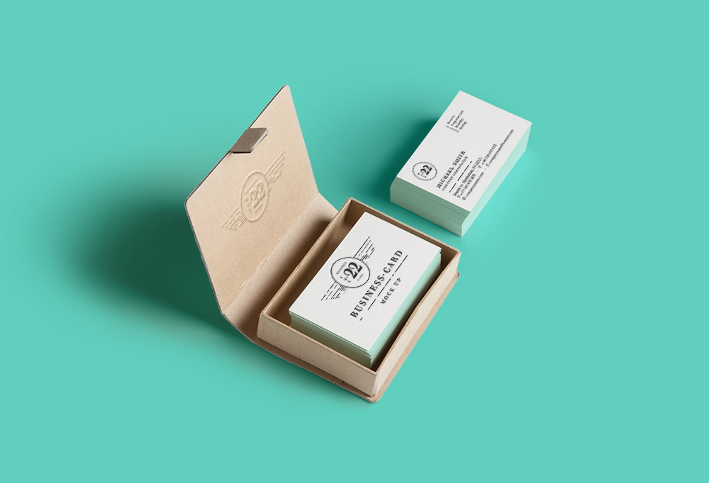 Business Cards in Case - Free PSD Mockup