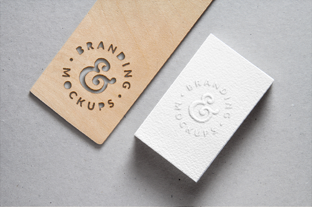 Embossed Business Card with Cutout Wood - Free Mockup
