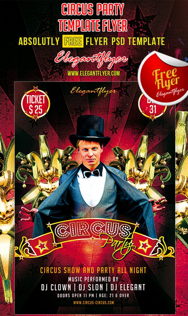 Circus Party – Club and Party Free Flyer PSD Template