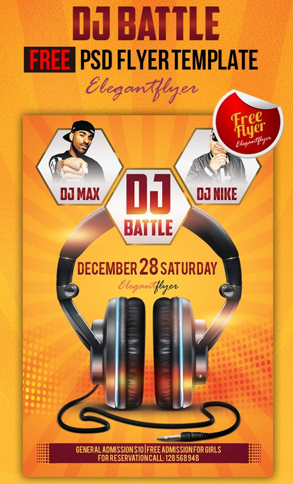 Dj Battle – Club and Party Free Flyer PSD Template