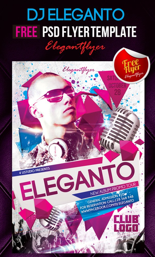 dj eleganto club and party free flyer psd - Free Psd Flyer Templates